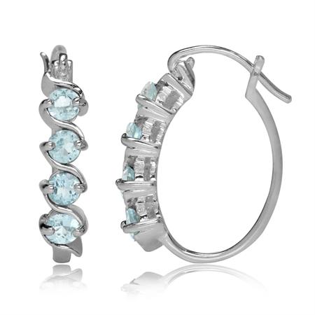 1.2ct. Genuine Blue Aquamarine 925 Sterling Silver Journey Hoop Earrings