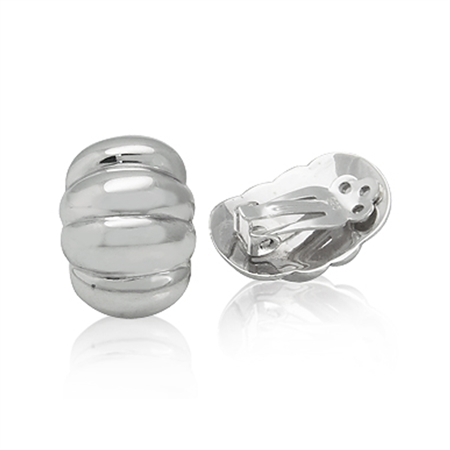 White Gold Plated 925 Sterling Silver Corrugated Oval Shape Clip-on Earrings