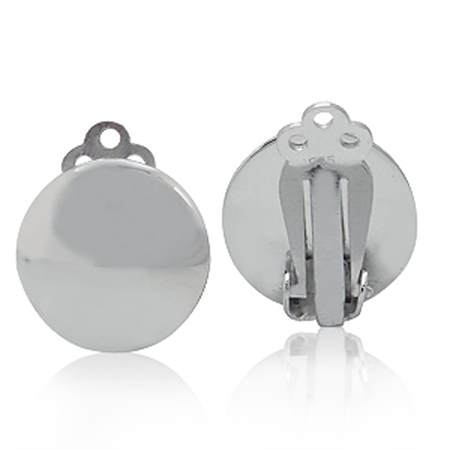 White Gold Plated 925 Sterling Silver 14MM Round Disc Shape Clip-on Earrings