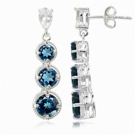 3.78ct. 3-Stone Genuine London Blue Topaz 925 Sterling Silver Graduated Rope Dangle Post Earrings
