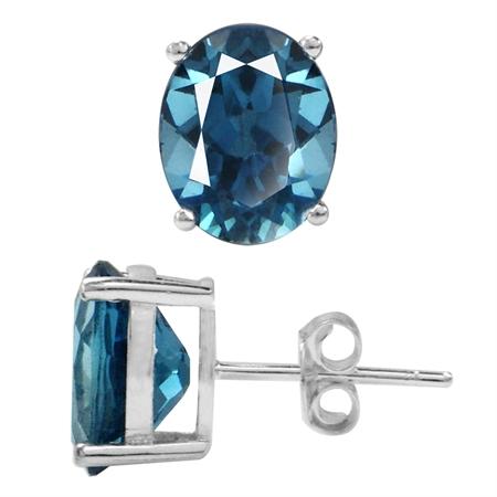 6.24ct. 10x8MM Genuine Oval Shape London Blue Topaz 925 Sterling Silver Stud Earrings