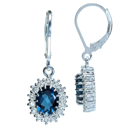 2.72ct. Genuine London Blue & White Topaz 925 Sterling Silver Leverback Earrings