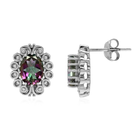 3.08 ct. Mystic Fire Topaz 925 Sterling Silver Filigree Post Earrings