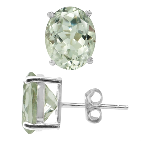 4.88ct. 10x8MM Natural Oval Shape Green Amethyst 925 Sterling Silver Stud Earrings