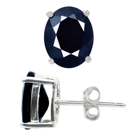 6.7ct. 10x8MM Natural Oval Shape Black Sapphire White Gold Plated 925 Sterling Silver Stud Earrings