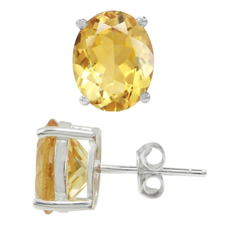 4.68ct. 10x8MM Natural Oval Shape Citrine White Gold Plated 925 Sterling Silver Stud Earrings