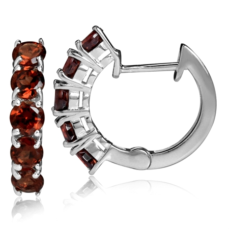 2.3ct. 5-Stone Natural Garnet 925 Sterling Silver Huggie Earrings