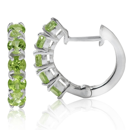 1.9ct. 5-Stone Natural Peridot 925 Sterling Silver Huggie Earrings