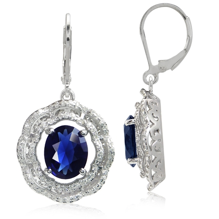 Sapphire Blue CZ White Gold Plated 925 Sterling Silver Flower Earrings