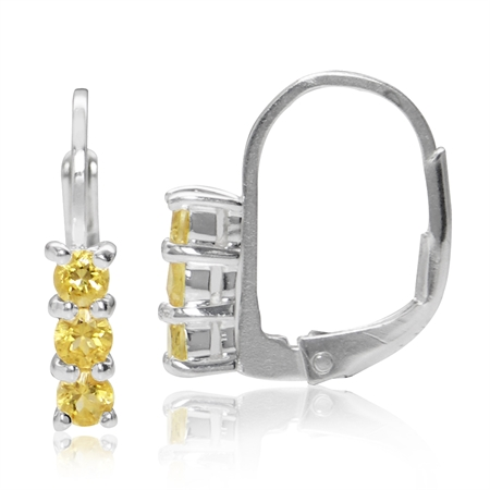 Petite 3-Stone Natural Citrine White Gold Plated 925 Sterling Silver Leverback Earrings