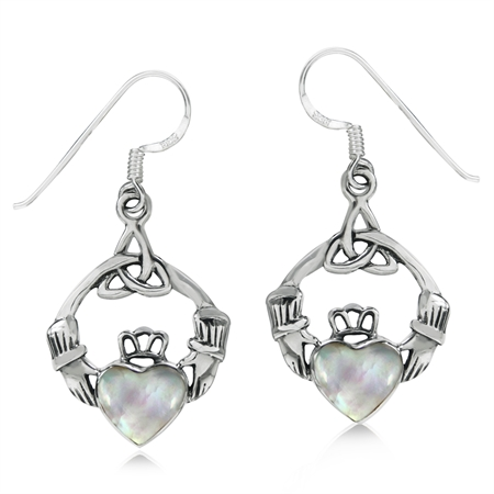 White Mother of Pearl 925 Sterling Silver Triquetra Celtic Knot Claddagh Dangle Hook Earrings