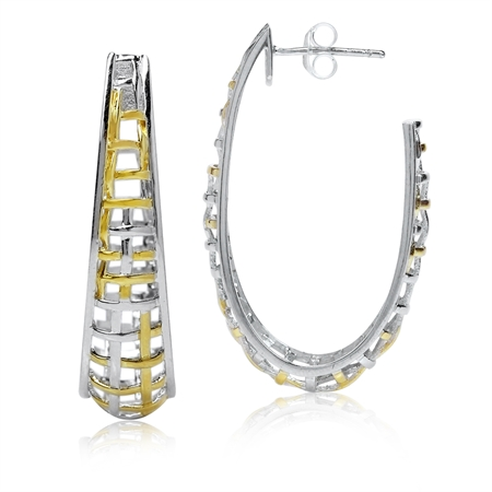 Two-Tone 18K Gold Plated 925 Sterling Silver Weave Hoop Earrings