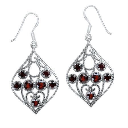 3.04ct. Natural January Birthstone Garnet 925 Sterling Silver Filigree Drop Dangle Earrings
