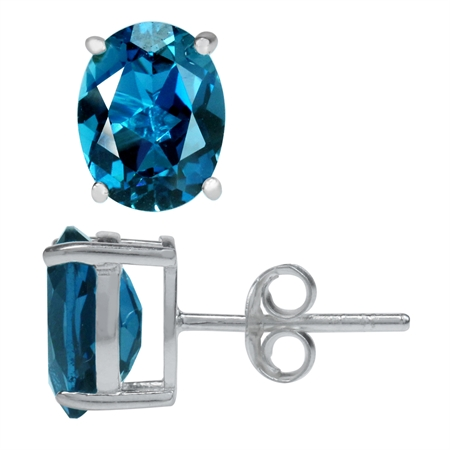 4.46ct. 9x7MM Genuine Oval Shape London Blue Topaz 925 Sterling Silver Stud Earrings