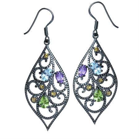Genuine Blue Topaz, Amethyst, Peridot & Citrine 925 Sterling Silver Drop Dangle Hook Earrings
