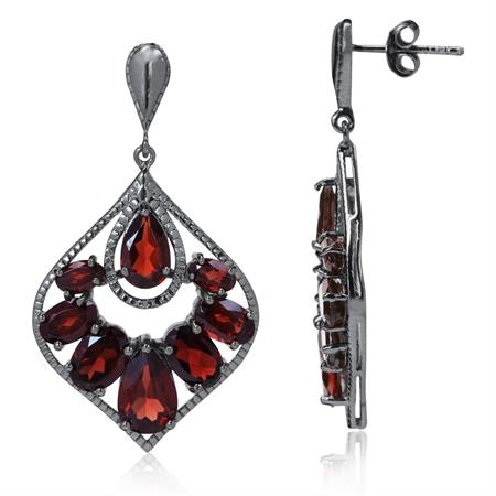 12.02ct. Natural Garnet Black Rhodium Plated 925 Sterling Silver Drop Dangle Earrings
