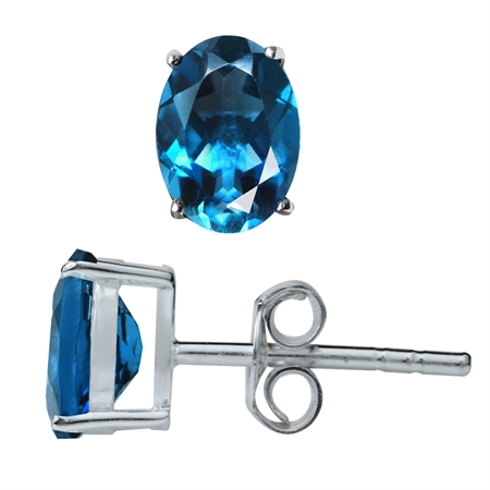 1.78ct. Genuine London Blue Topaz 925 Sterling Silver Stud Earrings