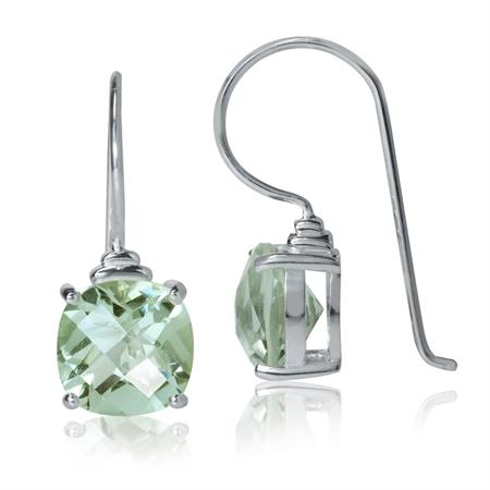 4.8ct. 9MM Natural Cushion Shape Green Amethyst 925 Sterling Silver Hook Earrings