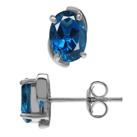1.78ct. 7x5MM Genuine Oval Shape London Blue Topaz 925 Sterling Silver Stud Earrings