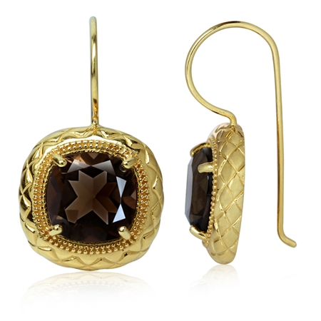 7.34ct. Natural Smoky Quartz 14K Gold Plated 925 Sterling Silver Diamond Pattern Earrings