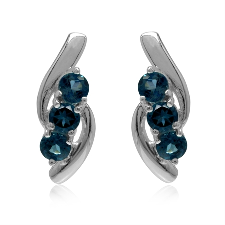 3-Stone Genuine London Blue Topaz White Gold Plated 925 Sterling Silver Stud Earrings