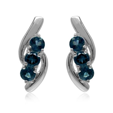 3-Stone Genuine London Blue Topaz White Gold Plated 925 Sterling Silver Stud Earrings