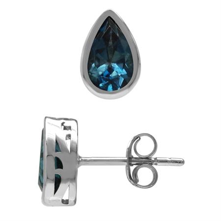 2.12ct. 8x5MM Genuine Pear Shape London Blue Topaz 925 Sterling Silver Stud Earrings