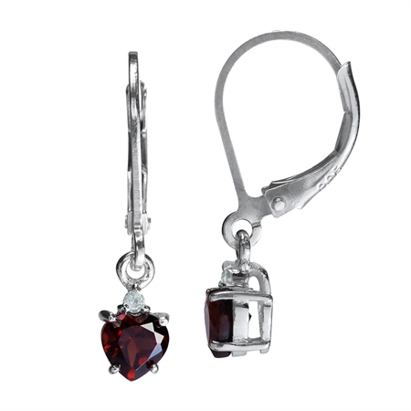 5MM Petite Natural Heart Shape Garnet & White Topaz 925 Sterling Silver Leverback Dangle Earrings
