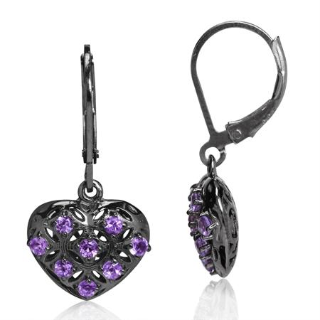 Natural Amethyst 925 Sterling Silver Heart Filigree Leverback Dangle Earrings