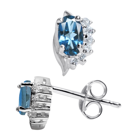 Petite Genuine London Blue Topaz White Gold Plated 925 Stering Silver Stud Earrings