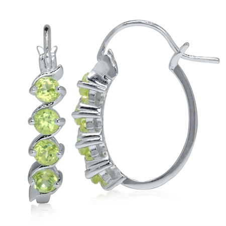 Natural Peridot White Gold Plated 925 Sterling Silver Journey Hoop Earrings