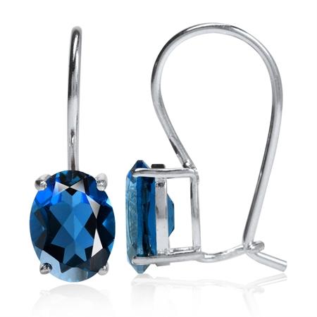 2.72ct. Genuine Oval Shape London Blue Topaz 925 Sterling Silver Hook Earrings