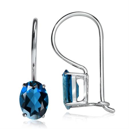 1.88ct. Genuine London Blue Topaz 925 Sterling Silver Closure Hook Earrings