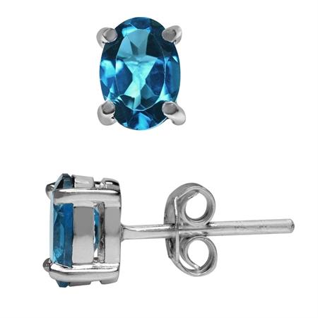 1.86ct. 7x5MM Genuine Oval Shape London Blue Topaz 925 Sterling Silver Stud Earrings