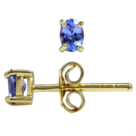 4x3MM Extra Petite Genuine Oval Shape Tanzanite 14K Gold Plated 925 Sterling Silver Stud Earrings
