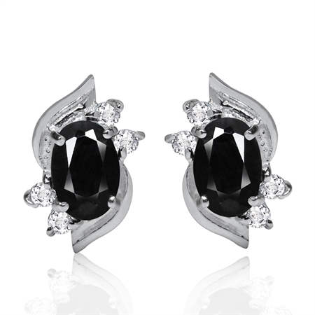 1.34ct. Petite Natural Black Sapphire & White Topaz 925 Sterling Silver Stud Earrings