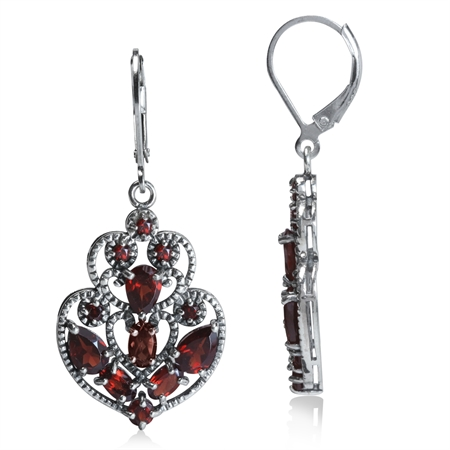 5.8ct. Natural Garnet 925 Sterling Silver Filigree Victorian Style Leverback Dangle Earrings