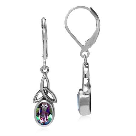 1.9ct. Mystic Fire Topaz 925 Sterling Silver Triquetra Celtic Knot Leverback Earrings