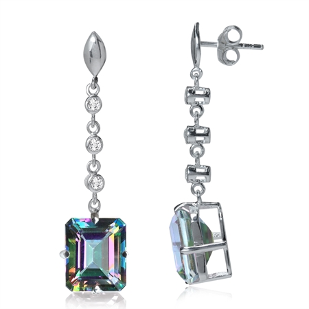 14.8ct. Mystic & White Topaz 925 Sterling Silver Dangle Earrings