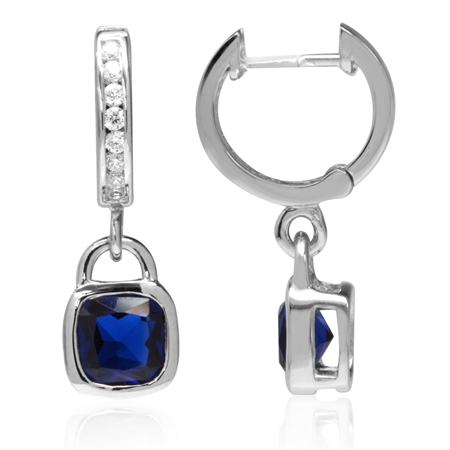 Synthetic Sapphire Blue White Gold Plated 925 Sterling Silver Huggie/Hoop Dangle Earrings