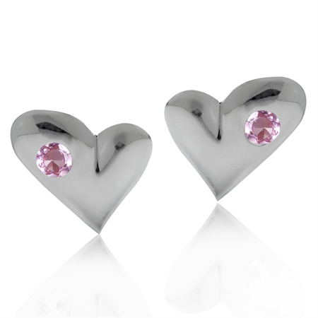 Natural Pink Tourmaline 925 Sterling Silver Heart Stud Earrings
