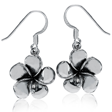 Antique Finish 925 Sterling Silver Plumeria Flower Dangle Earrings