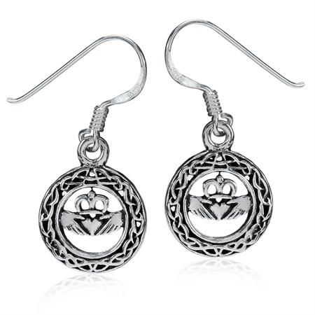 925 Sterling Silver Celtic Knot Claddagh Circle Dangle Earrings
