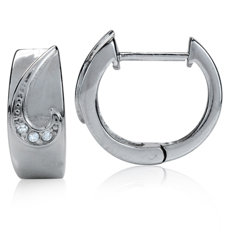 CZ White Gold Plated 925 Sterling Silver Huggie/Hoop Earrings