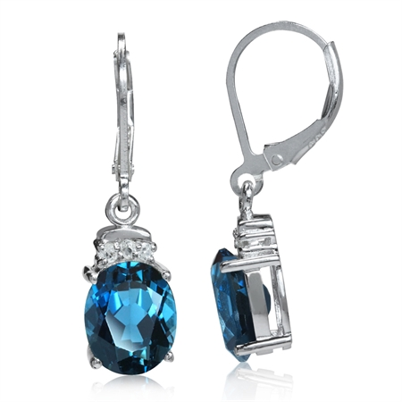 5.9ct. Genuine London Blue & White Topaz 925 Sterling Silver Leverback Dangle Earrings