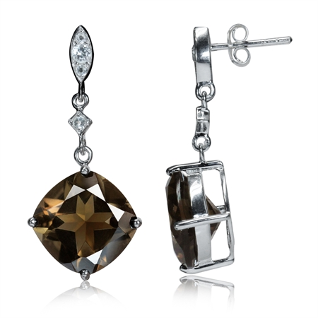 12.34ct. 12MM Cushion Natural Smoky Quartz & White Topaz 925 Sterling Silver Dangle Post Earrings