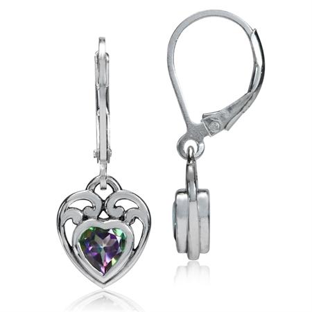 1.1ct. Heart Shape Mystic Fire Topaz 925 Sterling Silver Filigree Leverback Earrings