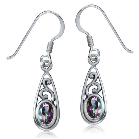 1.12ct. Mystic Fire Topaz 925 Sterling Silver Filigree Drop Dangle Hook Earrings