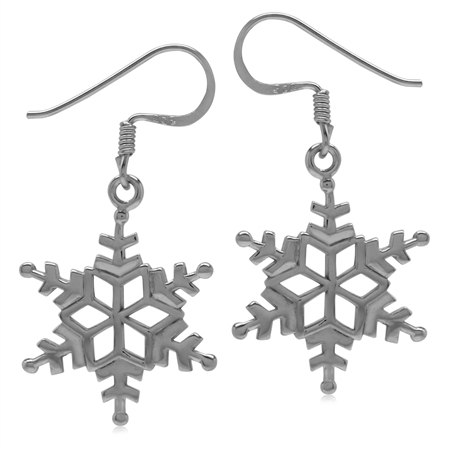 18MMx16MM 925 Sterling Silver Snowflake Dangle Hook Earrings