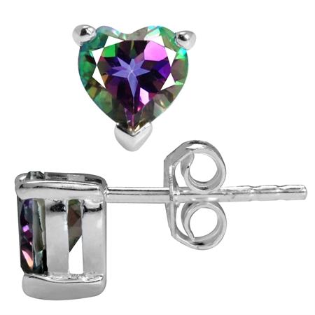 1.76ct. Heart Shape Mystic Fire Topaz 925 Sterling Silver Stud Earrings